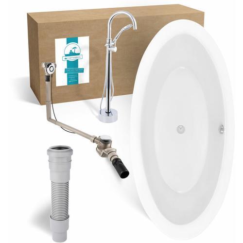 ® - Modern Soft 2 - Freistehende Badewanne in 186 x 89 cm im Set mit Schürze & freistehender