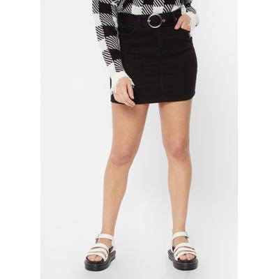Rue21 Womens Black O Ring Belted Jean Mini Skirt - Size M