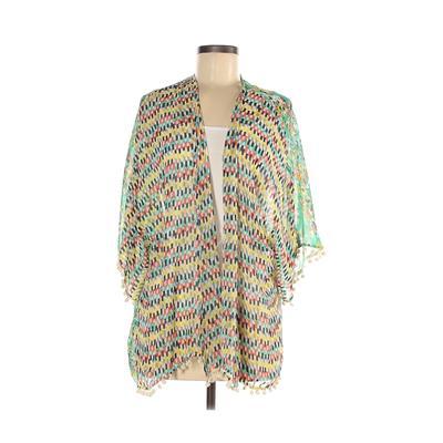 Joy Joy Kimono: Teal Chevron/Herringbone Tops - Size Small