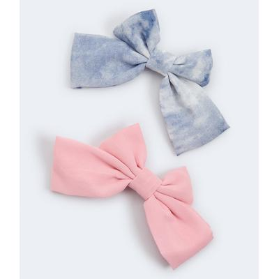 Aeropostale Girls' Tie-Dye & Solid Bow Barrette 2-Pack - Multi-colored - Size One Size - Cotton