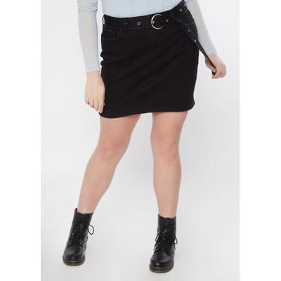 Rue21 Womens Plus Size Black Belted Jean Mini Skirt - Size 1X