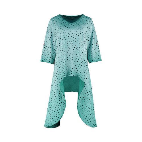 Deerberg Damen Jersey-Tunika Luise smaragdgrün-gepunktet Bluse