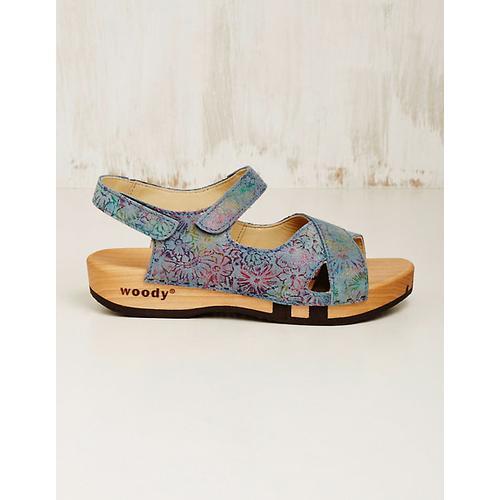 Woody Damen Leder-Sandalen Gloria jeans-bunt