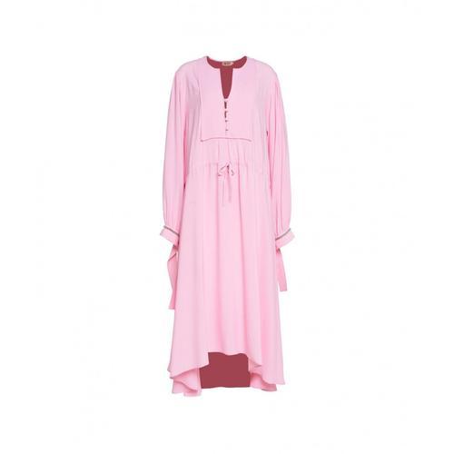 N21 Damen Midi-Kleid mit Coulisse Pink