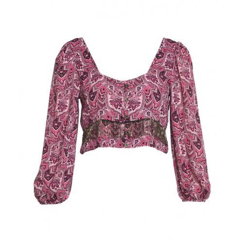 Gaelle Damen Cropped Bluse im Pailsey-Print Pink