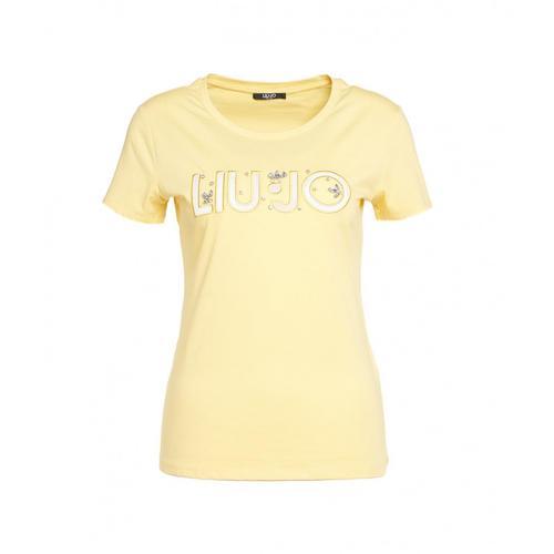 Liu Jo Damen T-Shirt mit Logostickerei und Strass Gelb