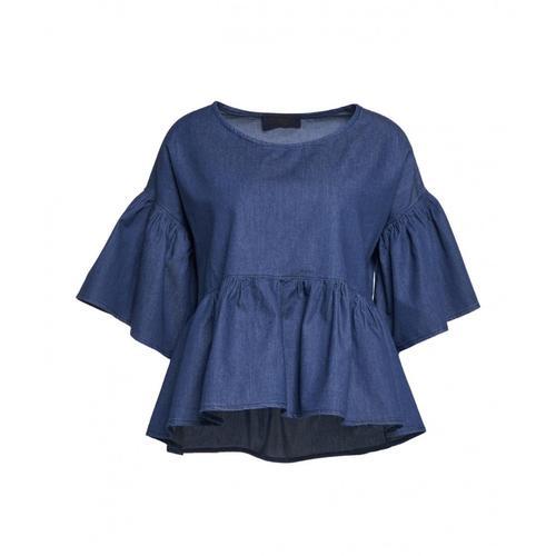 Kaos Damen Bluse in Denim mit Volants Blau