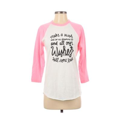 American Apparel - American Apparel Long Sleeve T-Shirt: Pink Graphic Tops - Size Small