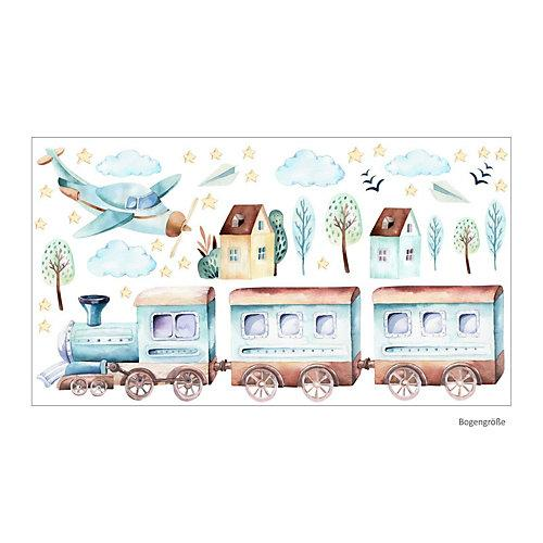 Wandtattoo 120 Wandtattoo Zug Eisenbahn Flugzeug Sterne Wolken Aquarell Wandtattoos hellblau