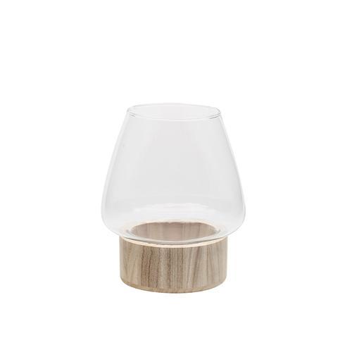 Glasvase mit Holzfuß, rund, 21 cm, 10,5 cm Ø