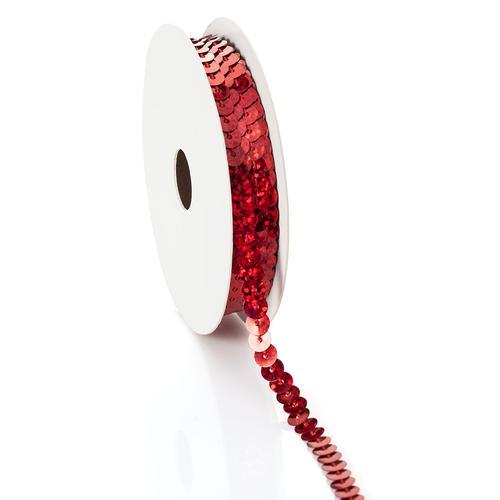 Paillettenband Hologramm, rot, Breite: 6 mm, Länge: 3 m