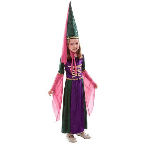Kinderkostüm Burgfräulein, grün/violett