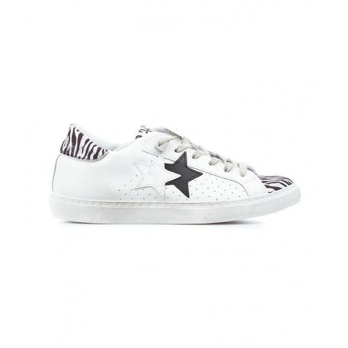 2 Star Damen Sneaker Animalier Weiß
