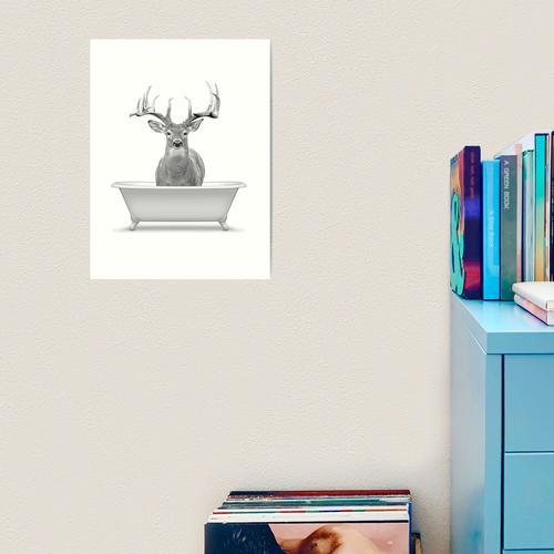 Badezimmerkunst, Hirschwandkunst, Badezimmerwandkunst, Badezimmerkinderkunst, Badezimmerd Kunstdruck