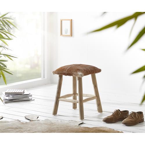 DELIFE Sitzhocker Koza 35x35 cm Ziegenfell Braun Teakholz, Sitzhocker / Sitzwürfel