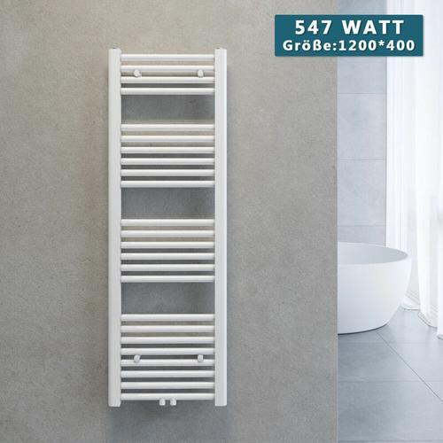 Handtuchtrockner Heizkörper Handtuchwärmer Badheizkörper Heizung Weiß 1200x400mm