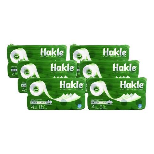 6x Hakle Toilettenpapier Natur 4 lagig 8er x 130 Blatt
