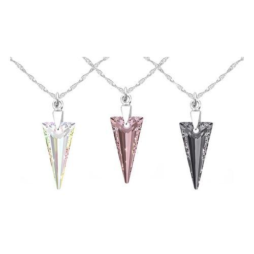 1x Halskette mit Swarovski®-Kristall: 28 mm/ AB