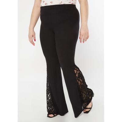 Rue21 Womens Plus Size Black Ribbed Knit Lace Flare Pants - Size 3X