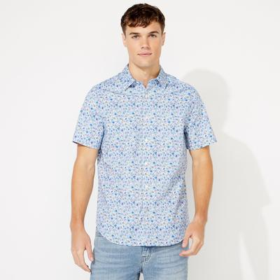 Nautica Men's Floral Print Short Sleeve Shirt Bright White, L
