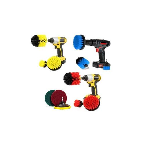 Bürstenaufsätze für die Bohrmaschine zur Reinigung: 6er-Set / Rot