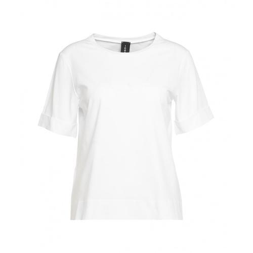 Icon Damen T-Shirt mit umgekrempelten Ärmeln Weiß