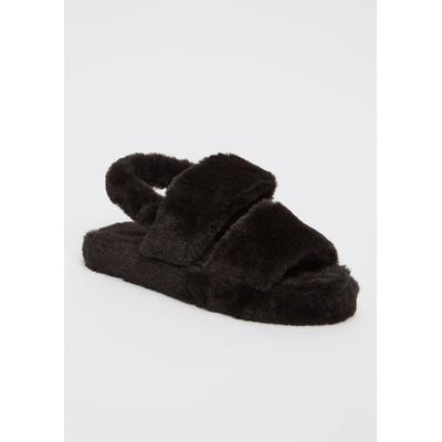 Rue21 Womens Black Double Strap Faux Fur Slippers - Size 7