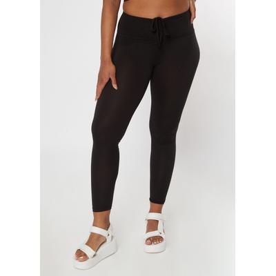 Rue21 Womens Black Ruched Drawstring Leggings - Size Xl