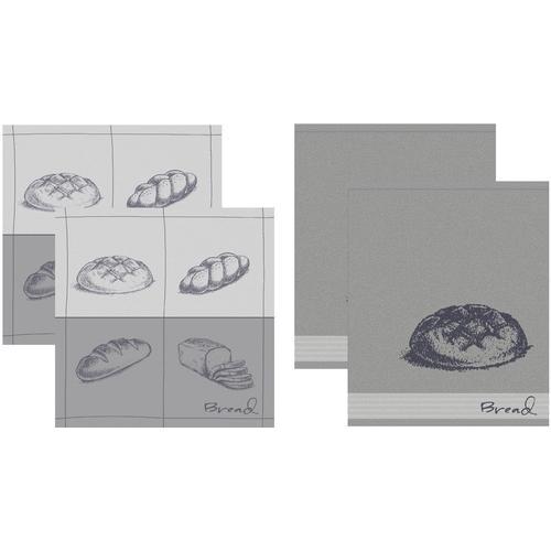 DDDDD Geschirrtuch Bread, (Set, 4 tlg., Combi-Set: bestehend aus 2x Küchentuch + Geschirrtuch) grau Geschirrtücher Küchenhelfer Haushaltswaren