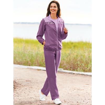 Women's Embroidered 3-Piece Pants Set, Grape Frost M Misses
