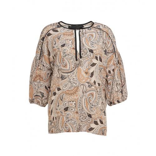 Kaos Damen Bluse mit Ethno-Print Beige