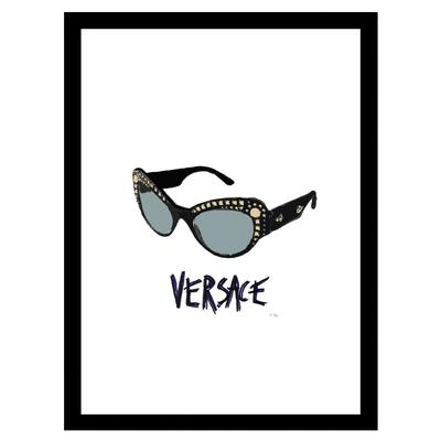 Versace Sunglasses - Black / Blue - 14x18 Framed Print by Venice Beach Collections Inc in Black Blue
