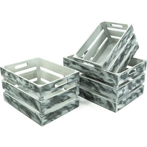 NOOR LIVING Aufbewahrungsbox Holzkisten-Set, 3-tlg., grau, rechteckig, (Set, 3 St.) weiß Kleideraufbewahrung Aufbewahrung Ordnung Wohnaccessoires