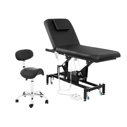 physa Massageliege elektrisch und Sattelstuhl - 2 Motoren - Fußpedal - schwarz PHYSA LYON BLACK SET-2
