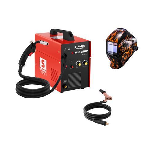 Stamos Basic Schweißset MIG/MAG Schweißgerät - 250 A - 230 V - tragbar + Schweißhelm – Firestarter 500