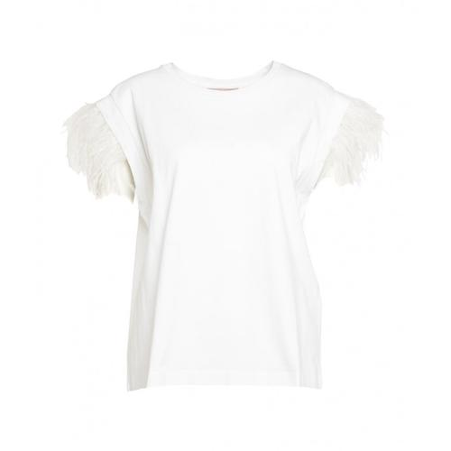 Twin Set Damen Top mit Feder-Applikation Weiß