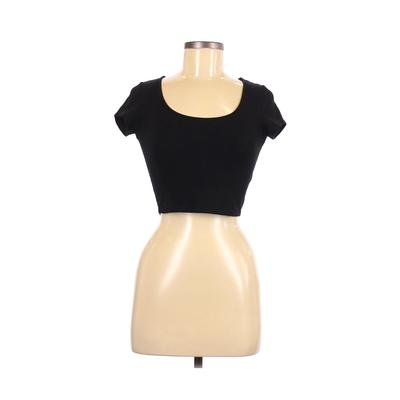Ambiance Apparel - Ambiance Apparel Short Sleeve T-Shirt: Black Solid Tops - Size Small