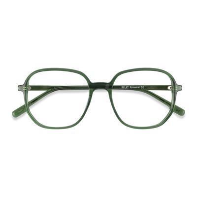 Female's Square Clear Green Acetate Prescription eyeglasses - EyeBuydirect's Natural