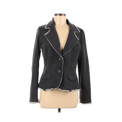Woman Blazer Jacket: Gray Solid Jackets & Outerwear - Size Medium