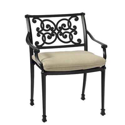 Amalfi Dining Armchair Replacement Cushion Canopy Stripe Granite/White Sunbrella - Ballard Designs