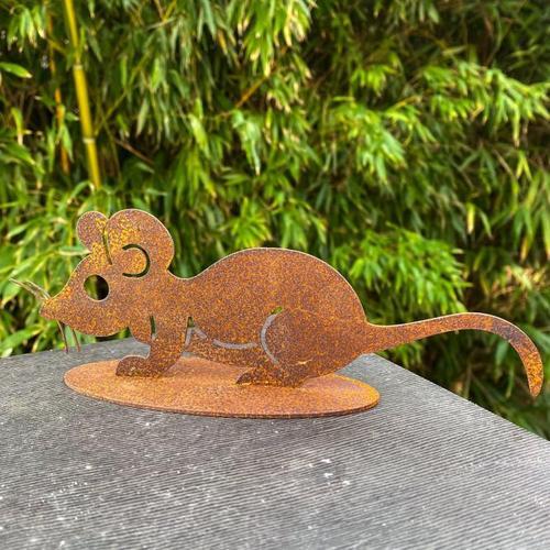 Gartenfigur Maus Mia, Edelrost, ca. 7 cm