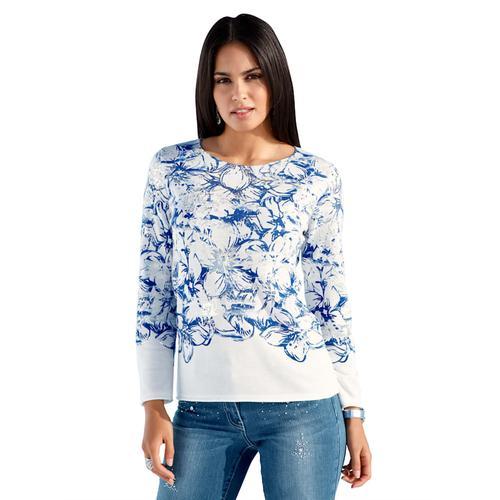 AMY VERMONT, Pullover mit Blumendruck und Foliendruck, weiß