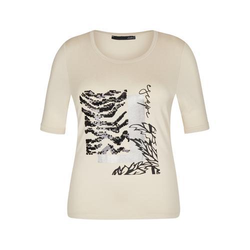 LeComte Paillettenshirt, mit Front-Print und Pailletten beige Damen Jersey Shirts Sweatshirts Paillettenshirt