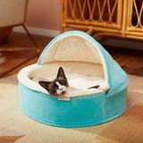 Frisco Hooded Zipper Cat & Dog Covered Bed, Teal, X-Small