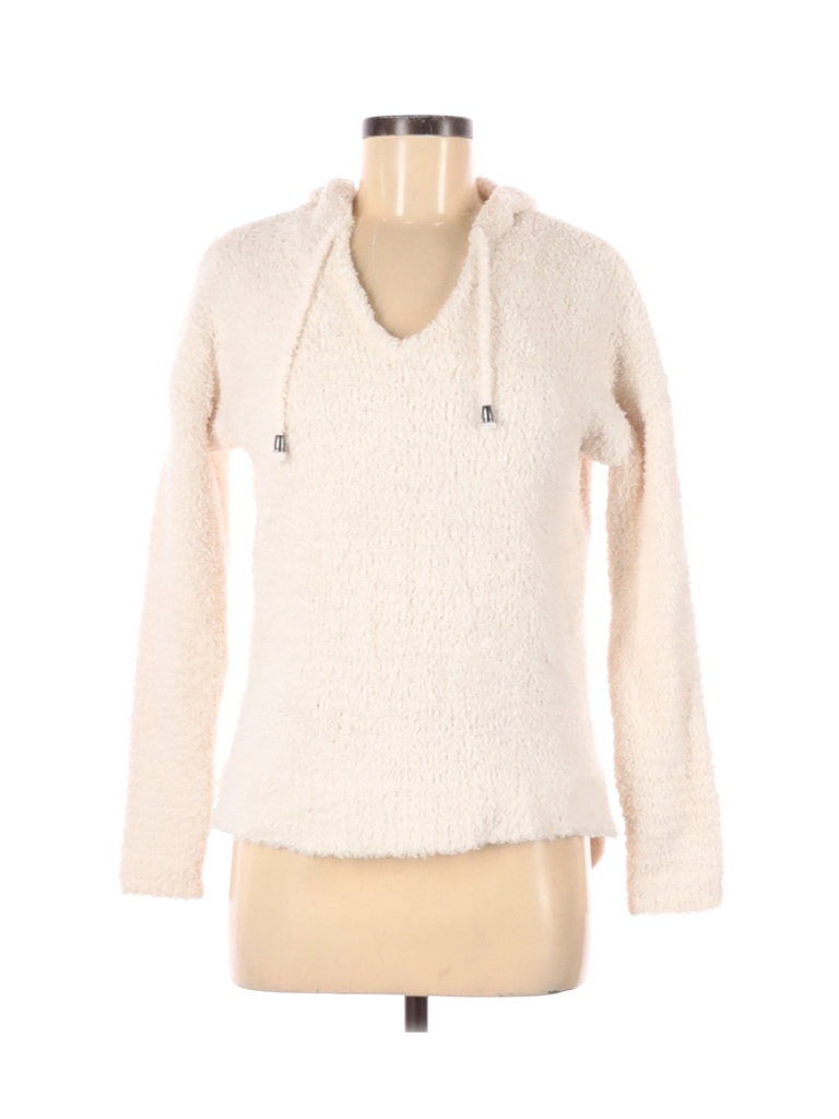 Cupio Pullover Hoodie: Ivory Solid Tops - Size Medium