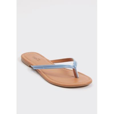Rue21 Womens Blue Faux Leather Flip Flops - Size 8