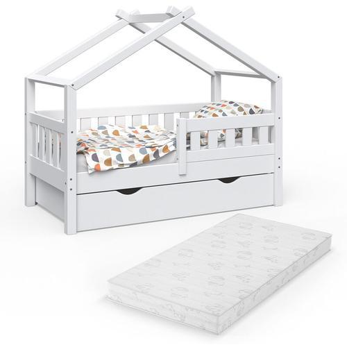 VitaliSpa Design Kinderbett 140x70 Babybett mit Schublade Lattenrost Matratze