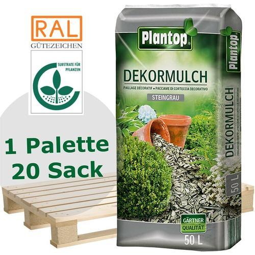 20 Sack Plantop Farbiger Dekormulch steingrau 10-40mm, Gartenmulch, 50 Liter