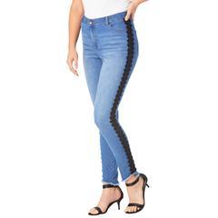 Plus Size Women's Side-Stripe Skinny Jean By Denim 24/7 by Denim 24/7 in Black Floral Crochet (Size 32 W)
