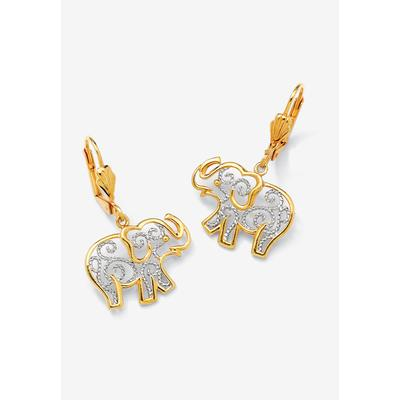 Plus Size Women's Yellow Gold-Plated Filigree Elephant Drop Earrings by PalmBeach Jewelry in Yellow Gold